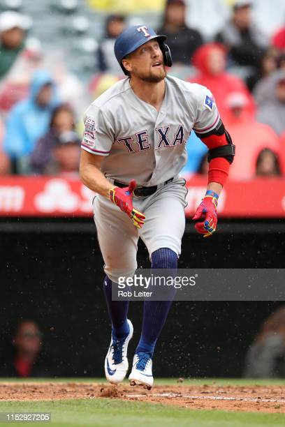 Hunter Pence of the Texas Rangers watches the ball during the game against the Los Angeles Angels at Angel Stadium on May 26 2019 in Anaheim...