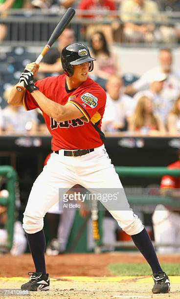 Hunter Pence of the U.S.A. Team bats during the XM Satellite Radio All-Star Futures Game against the World Team at PNC Park on July 9, 2006 in...
