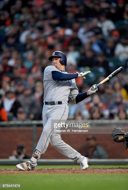 Hunter Renfroe of the San Diego Padres bats against the San Francisco Giants in the top of the six inning at ATT Park on April 29 2017 in San...