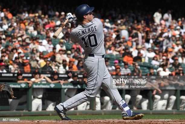 Hunter Renfroe of the San Diego Padres bats against the San Francisco Giants in the top of the first inning at ATT Park on October 1 2017 in San...