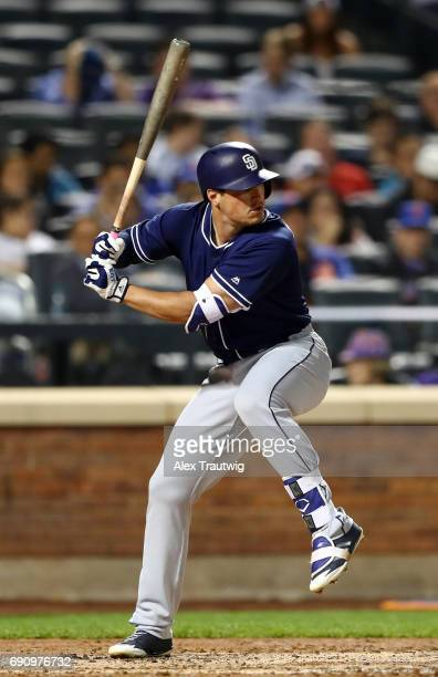 Hunter Renfroe of the San Diego Padres bats during the game against the New York Mets at Citi Field on Tuesday May 23 2017 in the Queens borough of...