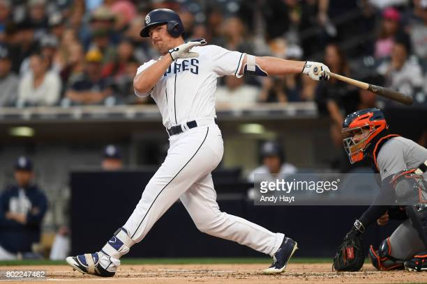 Hunter Renfroe of the San Diego Padres bats during the game against the Detroit Tigers at PETCO Park on June 24 2017 in San Diego California