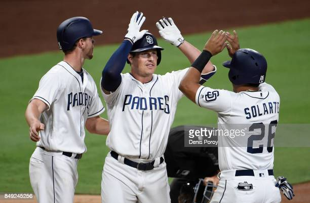 Hunter Renfroe of the San Diego Padres center is congratulated by Wil Myers and Yangervis Solarte after hitting a threerun home run during the first...