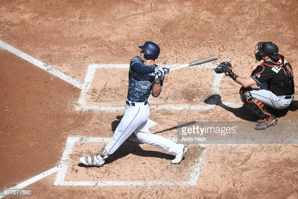 Hunter Renfroe of the San Diego Padres hits a home run during the game against the Miami Marlins at Petco Park on April 23 2017 in San Diego...