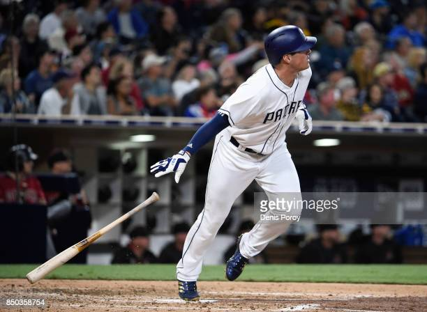 Hunter Renfroe of the San Diego Padres hits a tworun home run during the third inning of a baseball game against the Arizona Diamondbacks at PETCO...