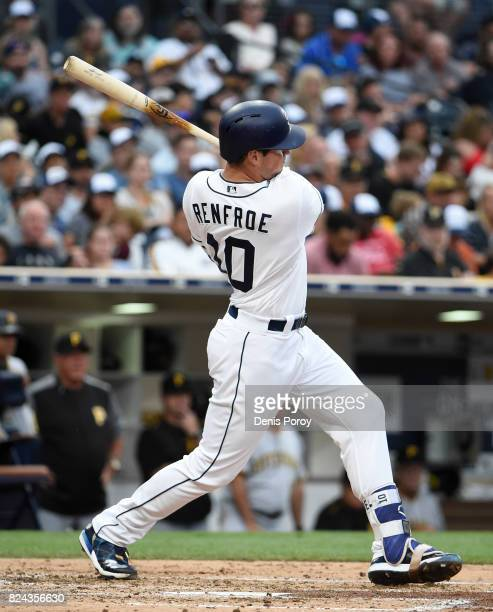Hunter Renfroe of the San Diego Padres hits an RBI double during the fourth inning of a baseball game against the Pittsburgh Pirates at PETCO Park on...