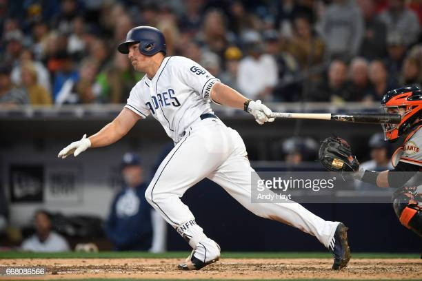 Hunter Renfroe of the San Diego Padres hits during the game against the San Francisco Giants at Petco Park on April 8 2017 in San Diego California