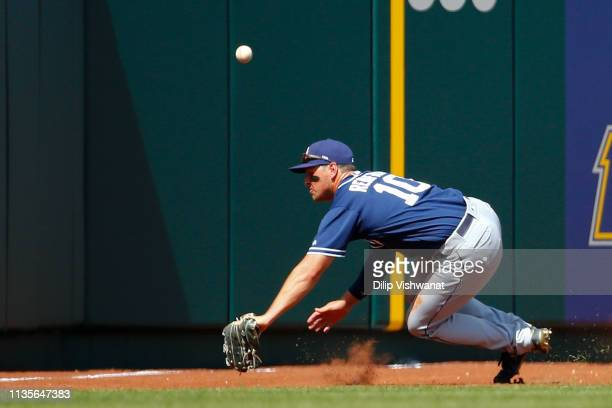 Hunter Renfroe of the San Diego Padres misplays a fly ball against the St Louis Cardinals in the fourth inning at Busch Stadium on April 7 2019 in St...