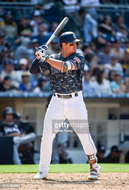 Hunter Renfroe of the San Diego Padres plays during a baseball game against the Miami Marlins at PETCO Park on April 23 2017 in San Diego California
