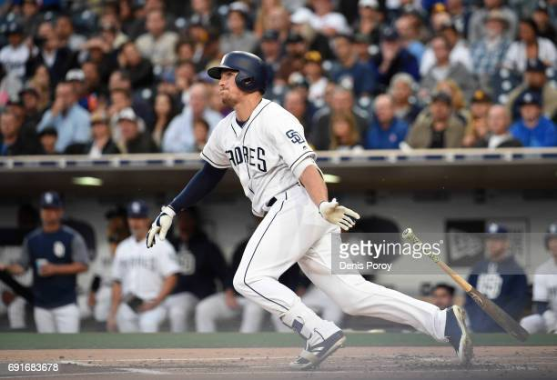Hunter Renfroe of the San Diego Padres plays during a baseball game against the Chicago Cubs at PETCO Park on May 30 2017 in San Diego California