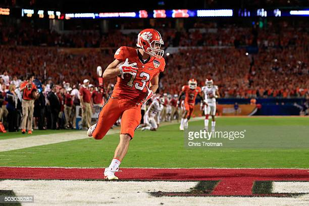 Hunter Renfrow of the Clemson Tigers scores a touchdown in the third quarter against the Oklahoma Sooners during the 2015 Capital One Orange Bowl at...