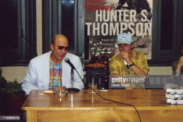 Hunter S Thompson and Johnny Depp during Hunter S Thompson Promotes The Proud Highway with Johnny Depp at Barnes Noble in New York City NY United...