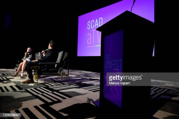 Hunter Schafer and JD Heyman speak onstage at the SCAD aTVfest 2020 In Conversation With Hunter Schafer And Discovery Award Actress Presentation on...
