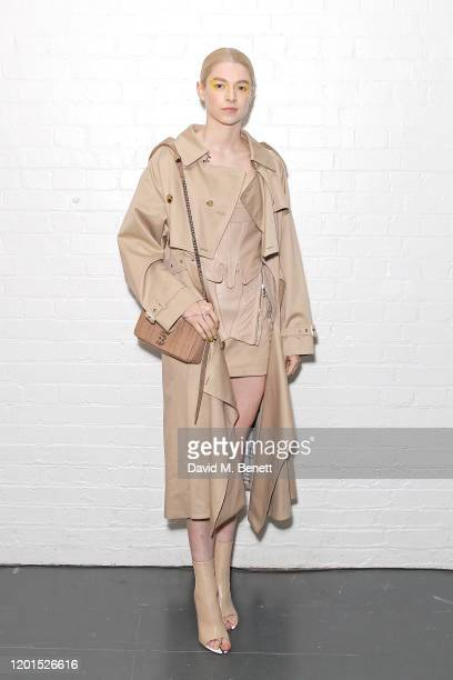 Hunter Schafer attends the Burberry Autumn/Winter 2020 show during London Fashion Week at Kensington Olympia on February 17 2020 in London England