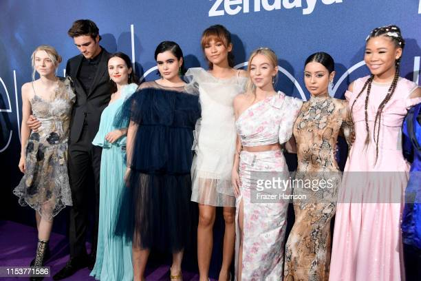 Hunter Schafer Jacob Elordi Maude Apatow Barbie Ferreira Zendaya Sydney Sweeney Alexa Demie and Storm Reid attend the LA Premiere of HBO's Euphoria...