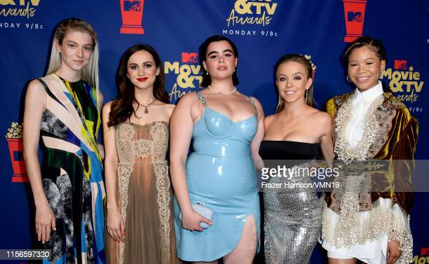 Hunter Schafer Maude Apatow Barbie Ferreira Sydney Sweeney and Storm Reid attend the 2019 MTV Movie and TV Awards at Barker Hangar on June 15 2019 in...