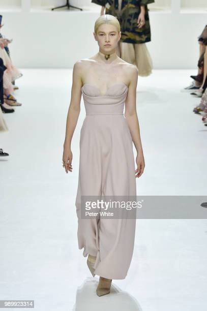 Hunter Schafer walks the runway during the Christian Dior Haute Couture Fall Winter 2018/2019 show as part of Paris Fashion Week on July 2 2018 in...