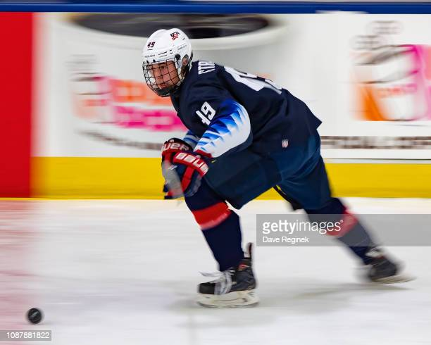 Hunter Strand of the US Nationals skates up ice with the puck against the Switzerland Nationals during day2 of game two of the 2018 Under17 Four...