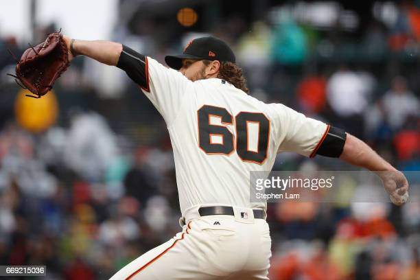 Hunter Strickland of the San Francisco Giants delivers a pitch during the eighth inning against the Colorado Rockies at ATT Park on April 16 2017 in...