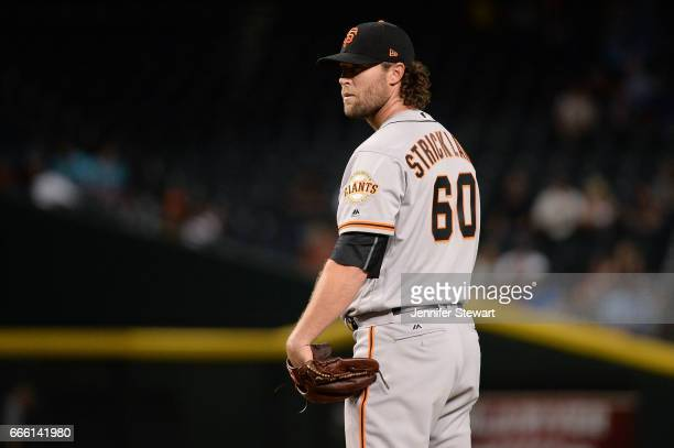 Hunter Strickland of the San Francisco Giants delivers a pitch in the ninth inning against the Arizona Diamondbacks at Chase Field on April 4 2017 in...