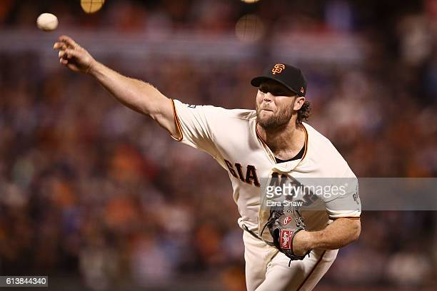 Hunter Strickland of the San Francisco Giants delivers a pitch against the Chicago Cubs in the eighth inning during Game Three of their National...