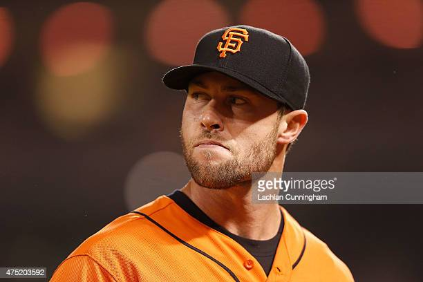 Hunter Strickland of the San Francisco Giants looks on after the top of the eighth inning against the Atlanta Braves at ATT Park on May 29 2015 in...