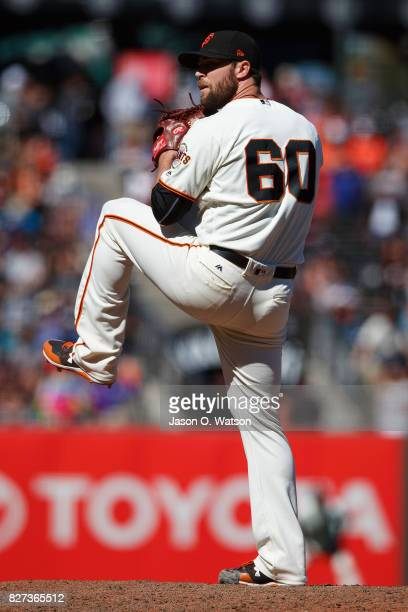 Hunter Strickland of the San Francisco Giants pitches against the New York Mets during the ninth inning at ATT Park on June 25 2017 in San Francisco...