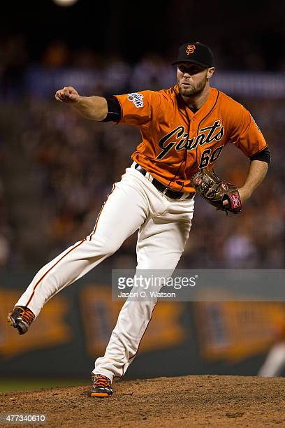 Hunter Strickland of the San Francisco Giants pitches against the Arizona Diamondbacks during the ninth inning at ATT Park on June 12 2015 in San...