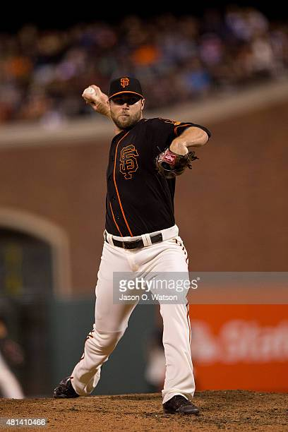Hunter Strickland of the San Francisco Giants pitches against the Philadelphia Phillies during the seventh inning at ATT Park on July 11 2015 in San...