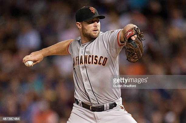 Hunter Strickland of the San Francisco Giants pitches against the Colorado Rockies in the seventh inning of a game at Coors Field on September 5 2015...