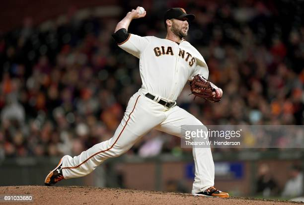 Hunter Strickland of the San Francisco Giants pitches against the Washington Nationals in the top of the eighth inning at ATT Park on May 31 2017 in...