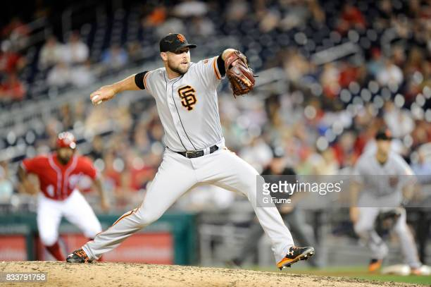 Hunter Strickland of the San Francisco Giants pitches against the Washington Nationals during Game 2 of a doubleheader at Nationals Park on August 13...