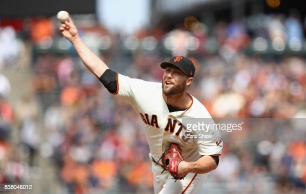 Hunter Strickland of the San Francisco Giants pitches against the Milwaukee Brewers in the sixth inning at ATT Park on August 23 2017 in San...