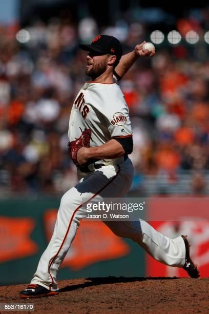 Hunter Strickland of the San Francisco Giants pitches against the Arizona Diamondbacks during the eighth inning at ATT Park on September 17 2017 in...