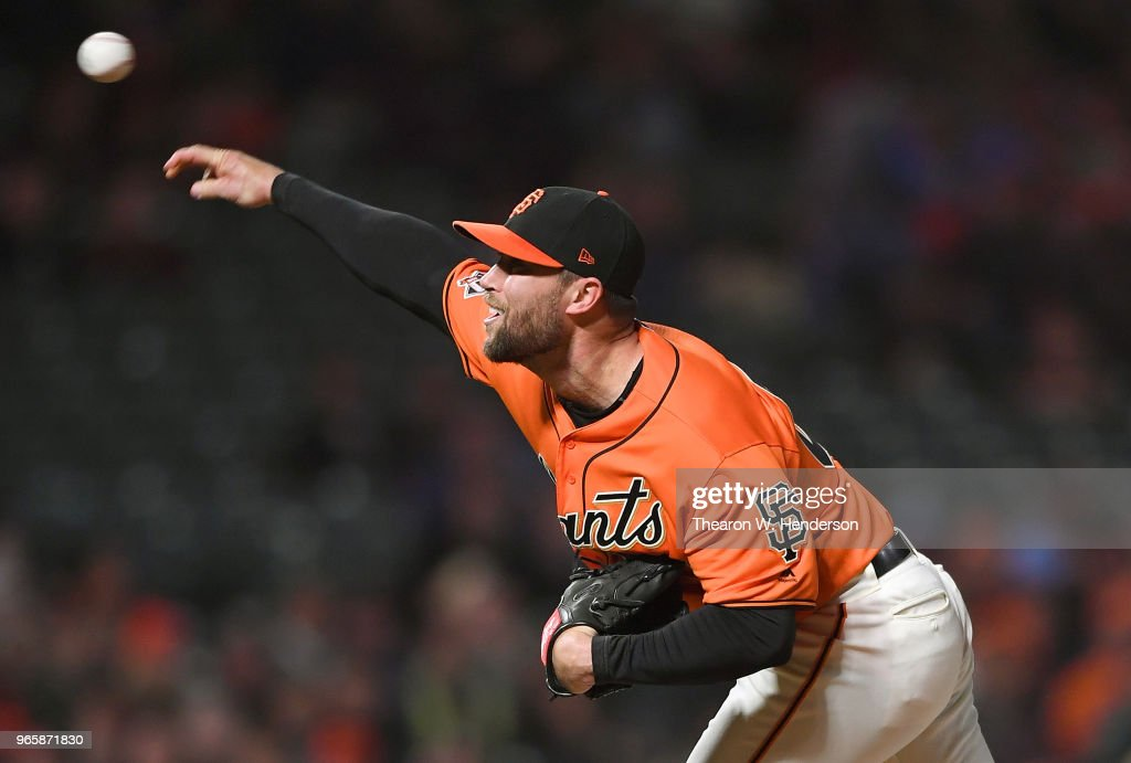 Hunter Strickland #60 of the San Francisco Giants pitches against the Philadelphia Phillies in the top of the ninth inning at AT&T Park on June 1, 2018 in San Francisco, California. The Giants won the game 4-0.