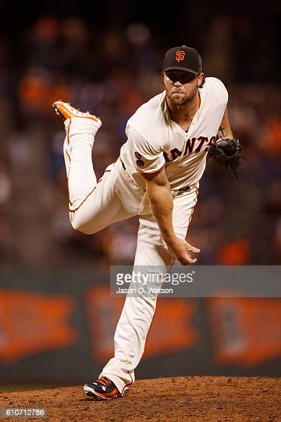 Hunter Strickland of the San Francisco Giants pitches against the San Diego Padres during the ninth inning at ATT Park on September 13 2016 in San...