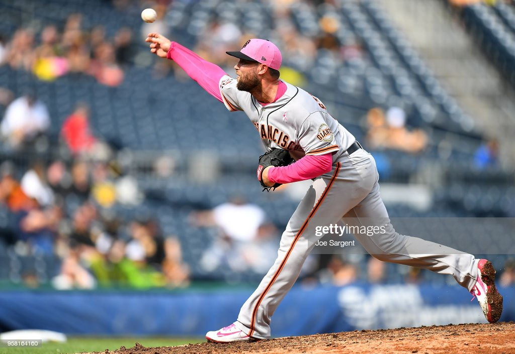 Hunter Strickland #60 of the San Francisco Giants pitches during the ninth inning against the Pittsburgh Pirates at PNC Park on May 13, 2018 in Pittsburgh, Pennsylvania.