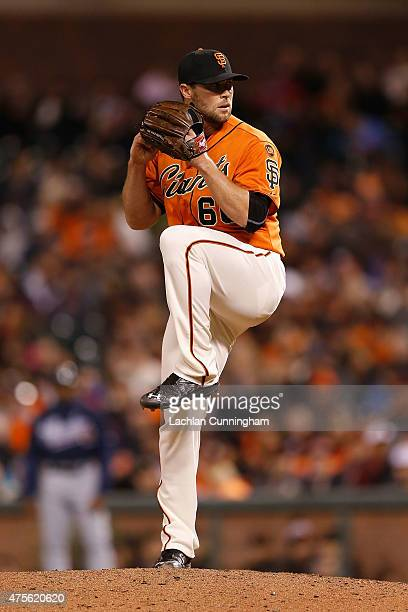 Hunter Strickland of the San Francisco Giants pitches in the eighth inning against the Atlanta Braves at ATT Park on May 29 2015 in San Francisco...