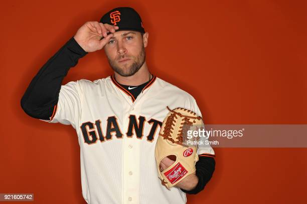 Hunter Strickland of the San Francisco Giants poses on photo day during MLB Spring Training at Scottsdale Stadium on February 20 2018 in Scottsdale...