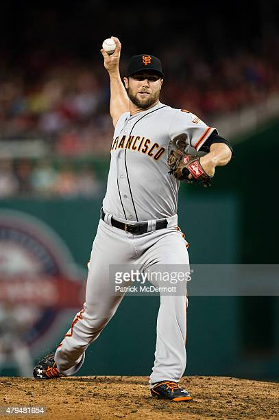 Hunter Strickland of the San Francisco Giants throws a pitch to a Washington Nationals batter in the seventh inning of a baseball game at Nationals...