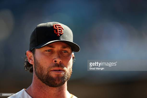 Hunter Strickland of the San Francisco Giants walks off the mound after pitching against the Arizona Diamondbacks during the game at ATT Park on...