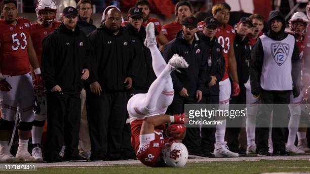 Hunter Thedford of the Utah Utes makes a reception against the Washington State Cougars at Rice-Eccles Stadium on September 28, 2019 in Salt Lake...