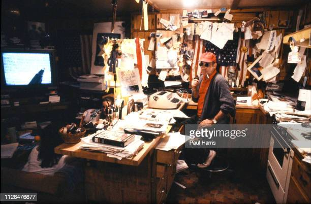 Hunter Thompson aka Hunter S Thompson aka Gonzo Journalist at his ranch the home where he killed himself in February 20 2005 sitting in his kitchen...