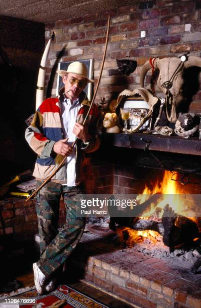 Hunter Thompson aka Hunter S Thompson aka Gonzo Journalist at his ranch the home where he killed himself in February 20 2005 standing by his...