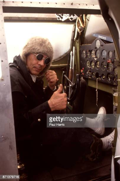 Hunter Thompson aka Hunter S Thompson aka Gonzo Journalist at his ranch sitting in his Link Trainer on October 12 1990 in Woody Creek Aspen Colorado