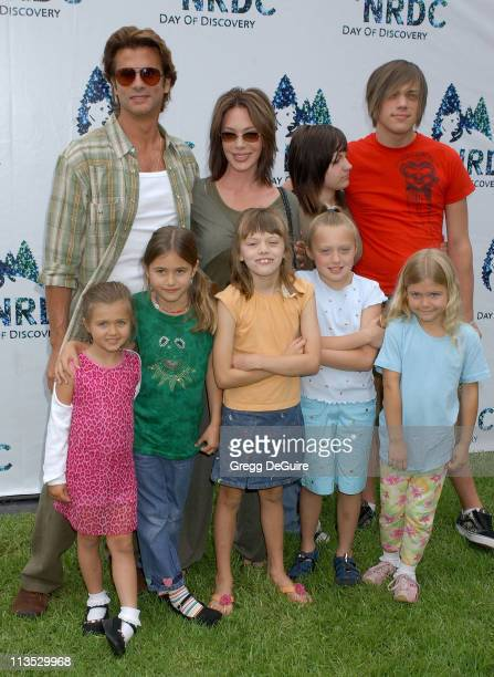 Hunter Tylo Lorenzo Lamas and kids during NRDC Day Of Discovery Fair Arrivals at Wadsworth Theater Grounds in Westwood California United States