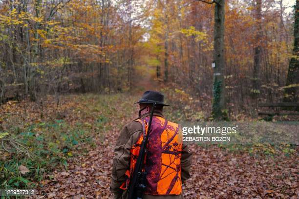 Hunter walks as he takes part in a hunt of animals that cause damage to cultures on October 8 in Hirsingue, eastern France.