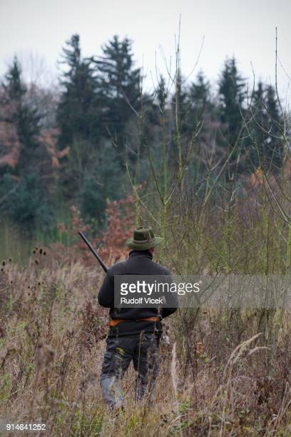 hunter wearing a hat with a rifle in a forest - czech hunters stock-fotos und bilder