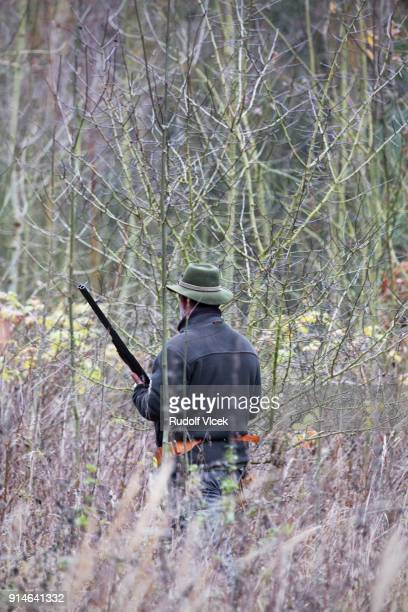 hunter wearing a hat with a rifle in a forest - czech hunters stock pictures, royalty-free photos & images