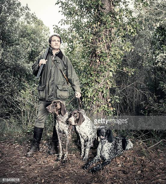 Hunter with German shorthaired Pointers
